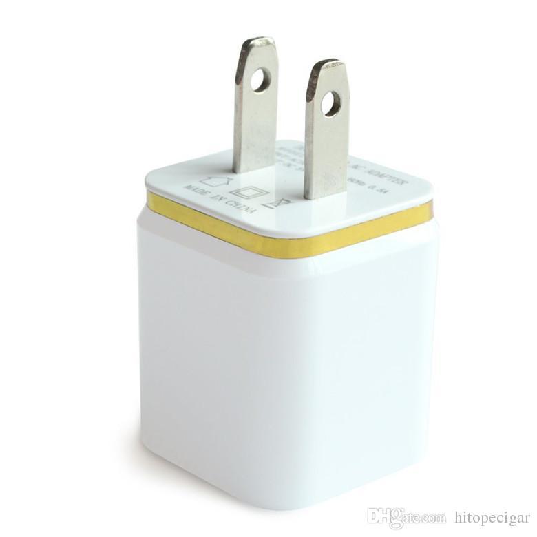 Chargeur de charge en métal double USB US EU Plug 2.1A Adaptateur secteur chargeur mural 2 ports pour Iphone Samsung Galaxy Note LG Tablet Ipad