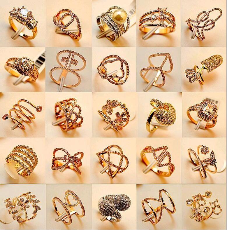 Estilo de mezcla Muchos diseños Anillo de piedras preciosas exagerado 18 K oro verdadero plateado Micro Pave Zircon Anillo de dedo Joyería de moda a granel al por mayor