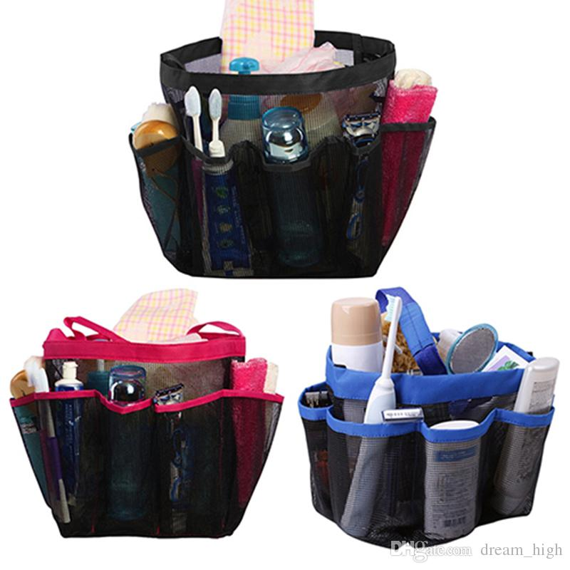 Quick Dry Oxford Storage Bags Hanging Mesh Bathroom Bag 8 Pocket ...