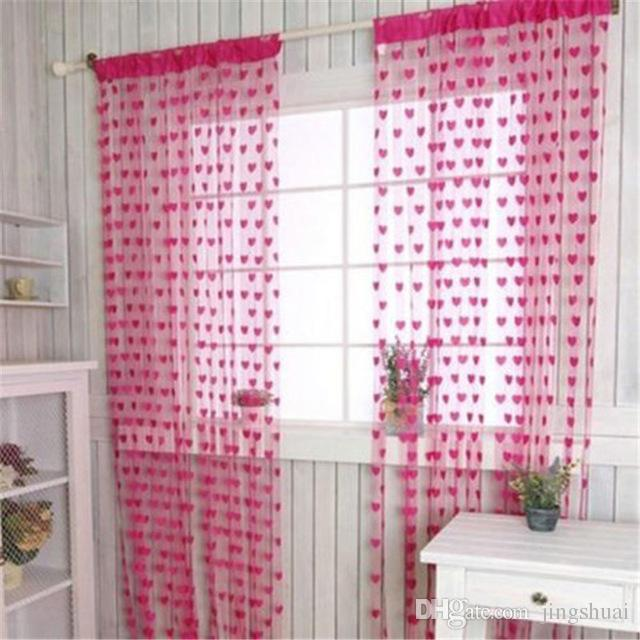Romantic Heart Shape Line Curtain for Partition Wall Vestibule window Curtain Home Kichen tulle Sheer Curtains for Living Room