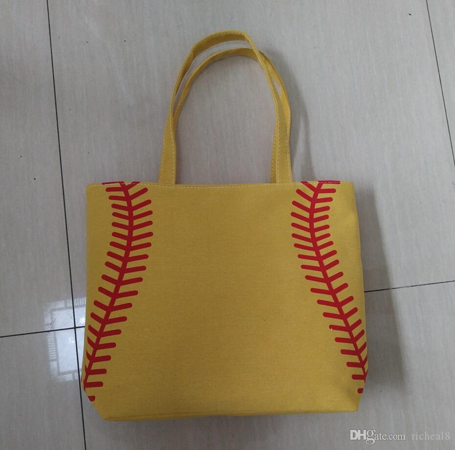 4 colors in stock softball baseball bag Tote BagsWholesale Blanks Cotton Canvas Softball Tote Bags Baseball Bag Football Bags Soccer ball