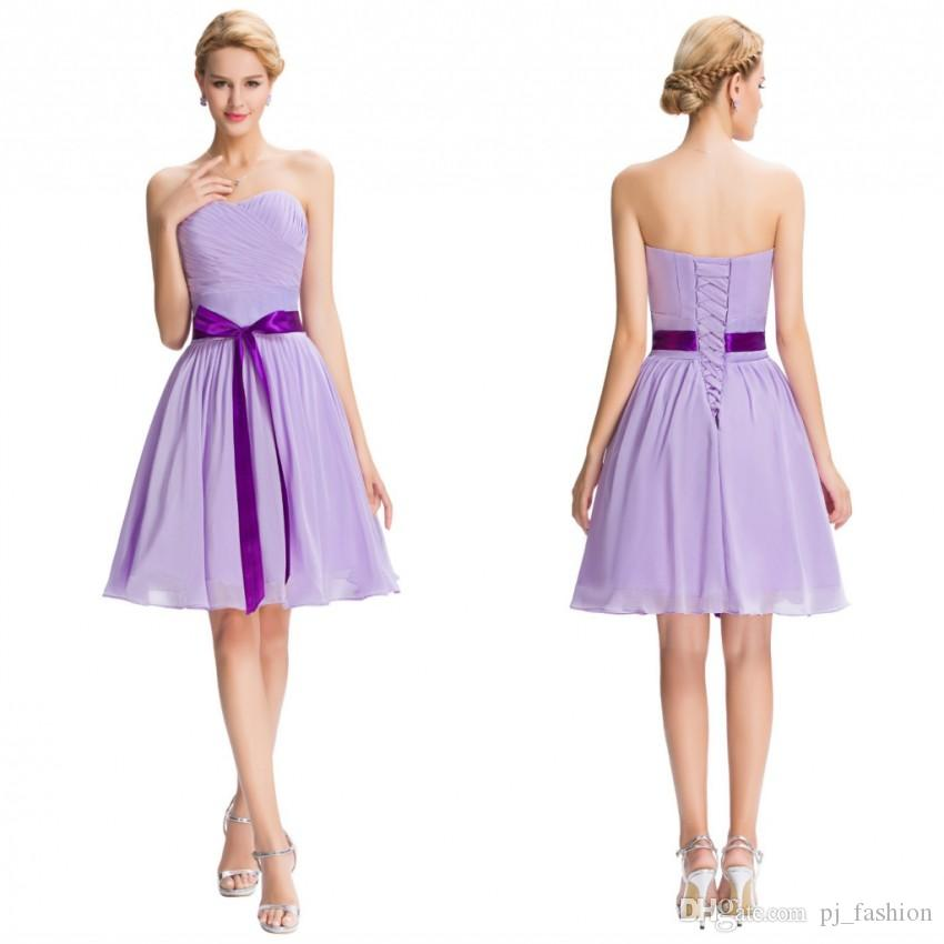 Lilac Purple Bridesmaid Dresses Robe Grace Karin Lace Up Strapless ...