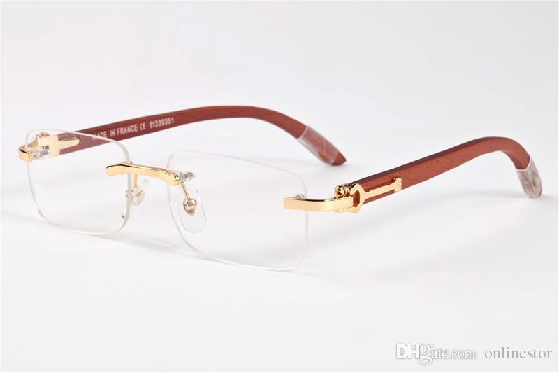 4c788ee256 2017 Men Rimless Glasses Wooden Buffalo Horn Glasses Brand France Design Optical  Sunglasses Women Gold Wood Glasses Eyewear Frames Designer Glasses ...