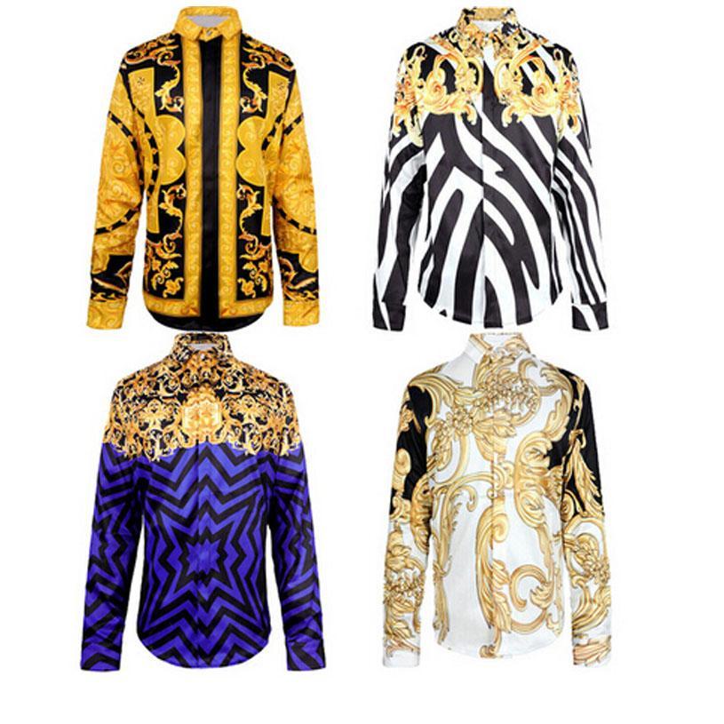 a8b04f3079 Wholesale- Medusa shirt spring autumn Harajuku Medusa gold chain/Dog Rose  print shirts Retro floral sweater Men long sleeve tops shirts