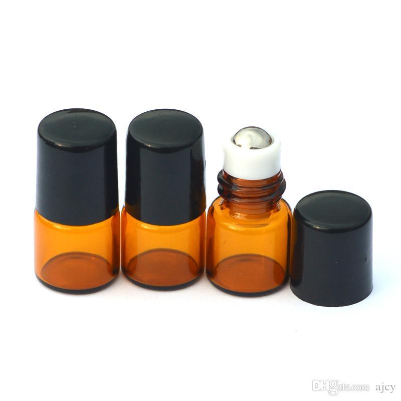 Empty Mini 1ml Amber Roll GlassBottle Metal Ball Roller on Essential Oil Perfume Liquid Sample Bottle
