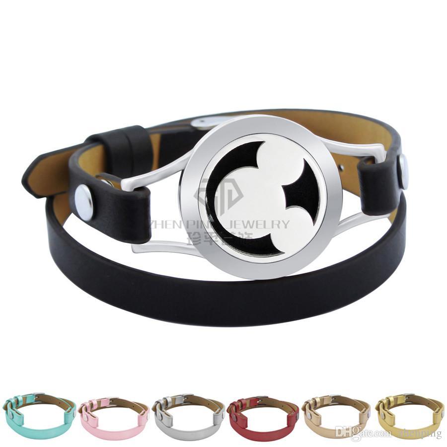 Animal 20mm Essential Loils Magnetic Locket 316L Brazalete de acero inoxidable Cuero genuino Magnético Aroma Difusor Locket Pulsera de cuero