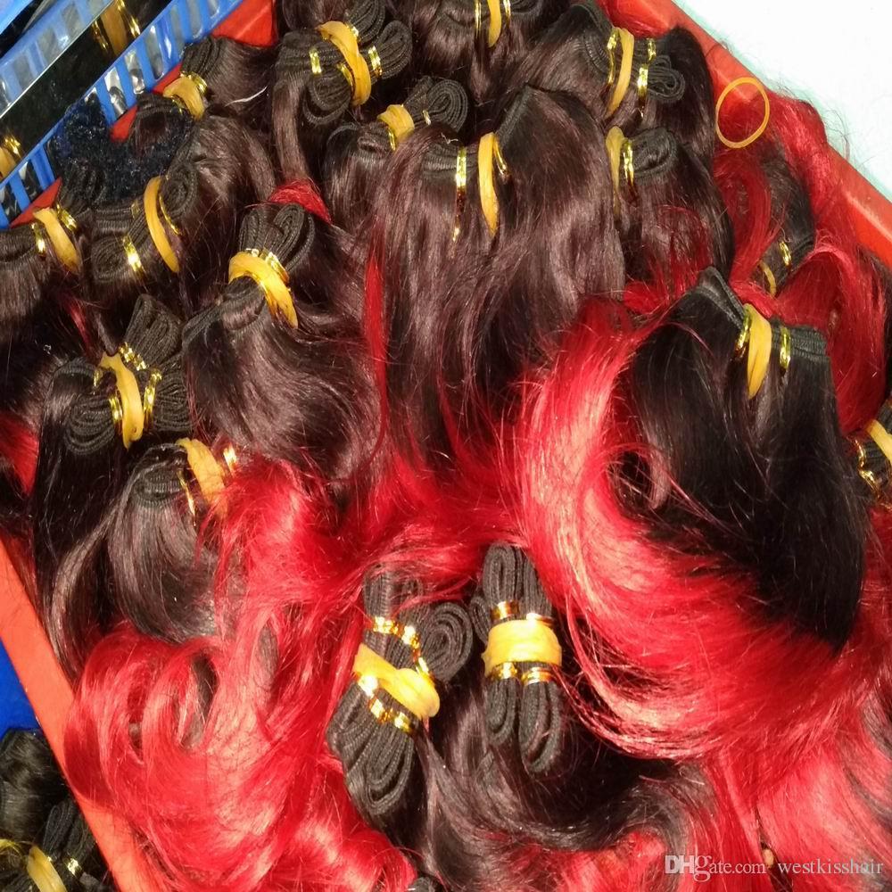 Heiße verkaufende brasilianische Menschenhaar-Erweiterung Ombre / bündelt spinnt neuen Großhandelsverkauf DHgate