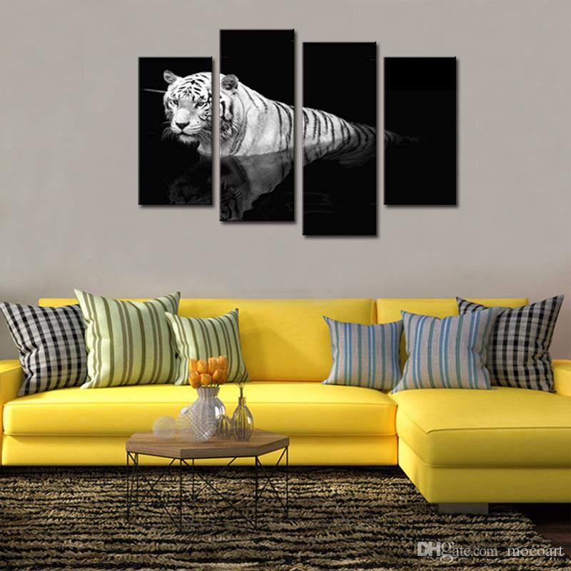 2018 Animal Paintings Black And White Tiger Wall Art Print On Canvas ...