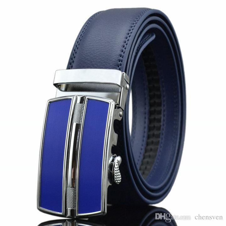 49df8ad5bf ! Men High Quality High Quality Black Automatic Buckle Leather Blue Belt  Jeans Belt Belts For Men Cintos Cinturones Belt Timing Belt From Chensven,  ...