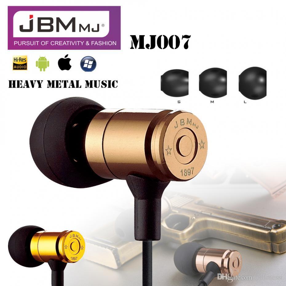 fbb57a886f8 Original JBM MJ007 Bullet Earphone Heavy Metal In-Ear Headset Phone  Earphones For iphone samsung xiaomi mobile phone PC MP3 MP4 +B