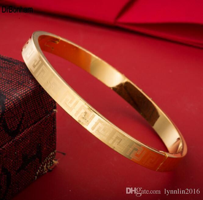 4mm / 6mm / 8mm Famosa Marca de Joyería Pulsera Pulsera Pulseira 24 K Color Dorado llave griega grabado Pulsera Para Mujeres hombres