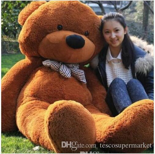 "2017 hot sale 6.3 FEET TEDDY BEAR STUFFED LIGHT BROWN GIANT JUMBO 72"" size:160cm"