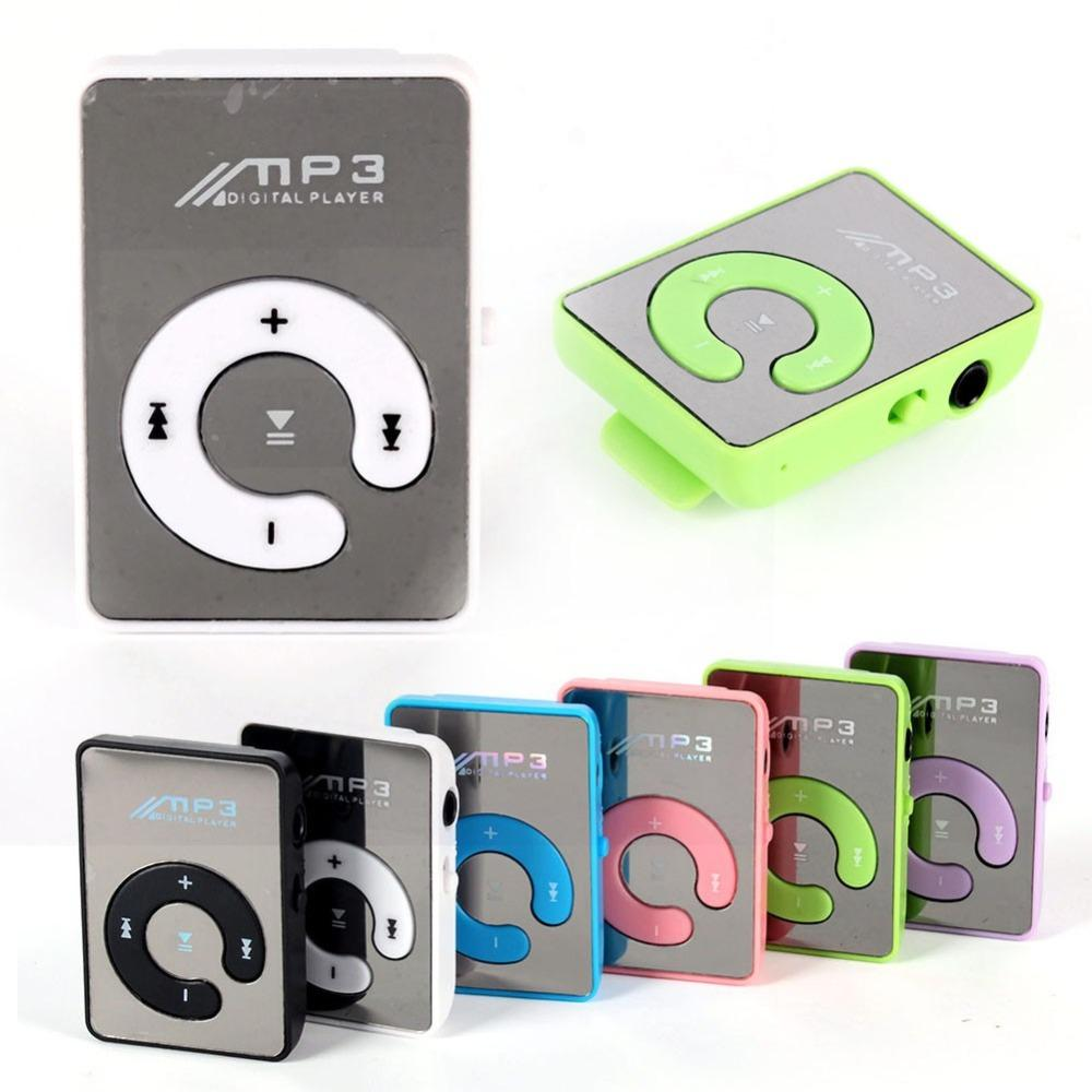 Wholesale- Mini MP3 Music Player Mirror Clip Support 8GB SD TF Card USB Digital 6 Colors