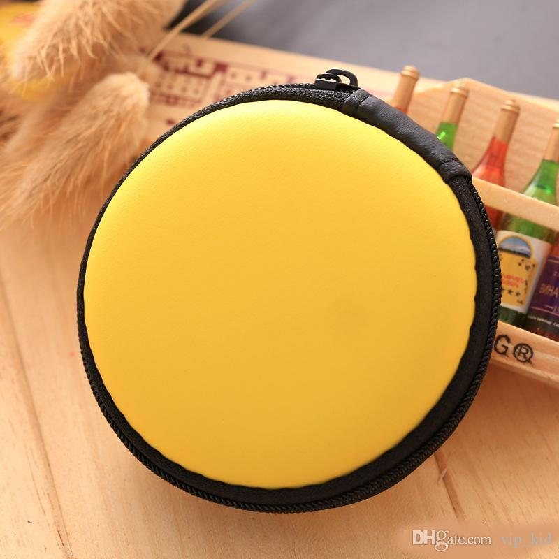 Earphone line storage bag,Practical solid color round bag, Fidget Spinner pack,