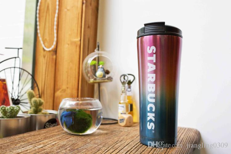 Summer New Starbucks Color Gradual Change Stainless Steel