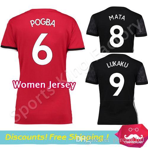 Women Pogba Soccer Jersey 2018 Black Lukaku Jersey Lady Matic Martial  Lingard UtD Women Alexis Jerseys Football Shirts Women Pogba Soccer Jersey  Lady Matic ... 8d4737d8b