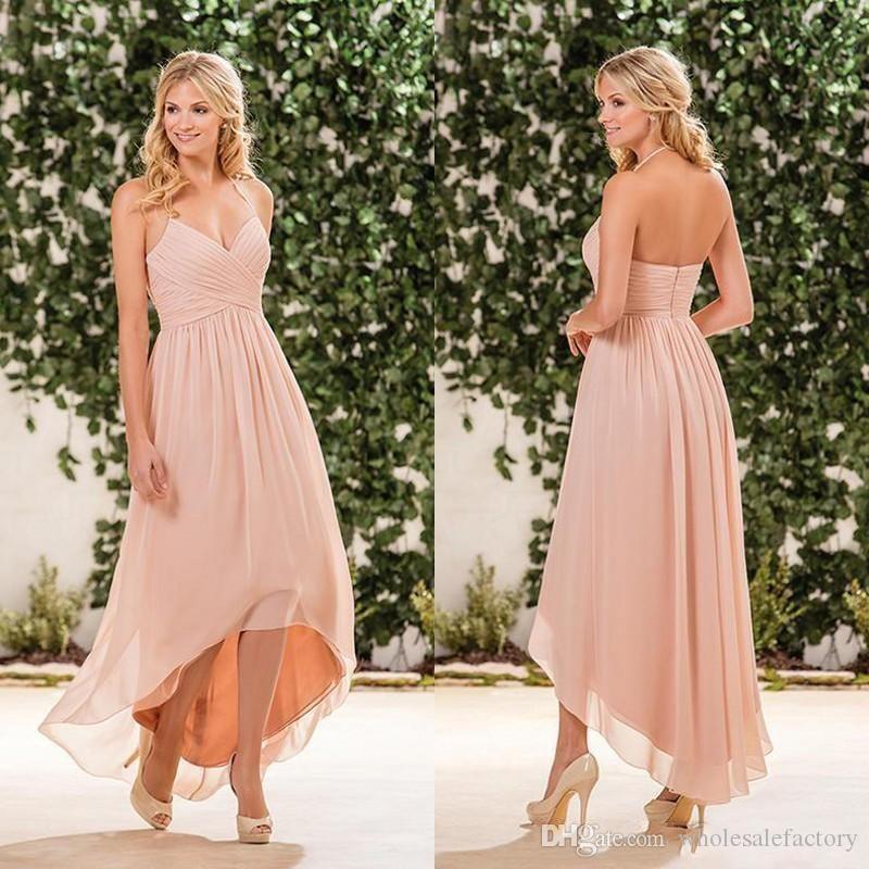 Blush Pink Chiffon Hoge Lage Bruidsmeisjes Jurken Halter V Neck Plooien Rits Terug Lange Strand Country Garden Maid of Honorjurken