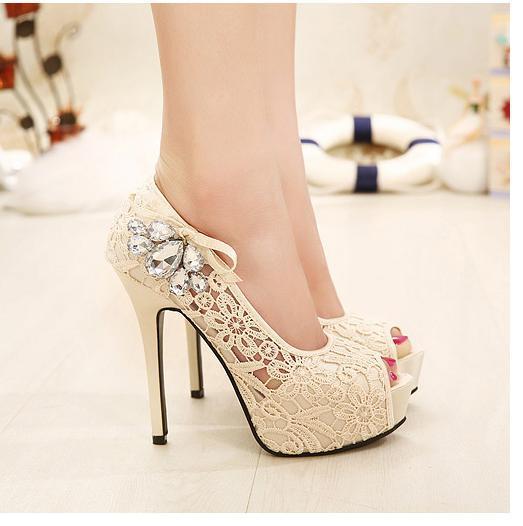 Adorable bowtie lace shoes peep toe platform high heels pumps fashion women dress shoes wedding shoes