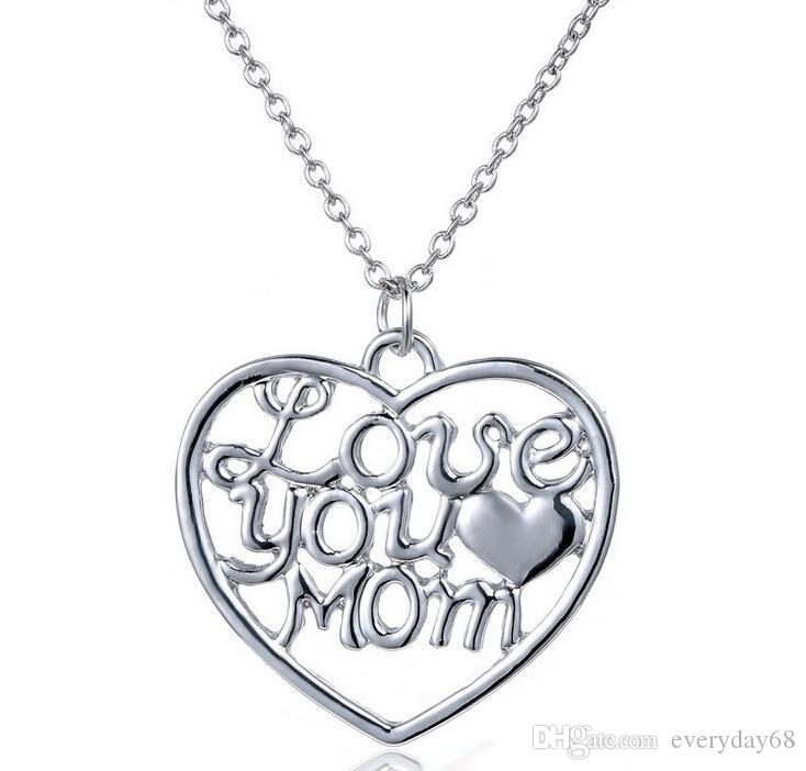 Wholesale love you mom heart necklaces for women mothers day gift wholesale love you mom heart necklaces for women mothers day gift hollow heart pendant necklaces hot sale necklace with good quality mens necklaces silver mozeypictures Images