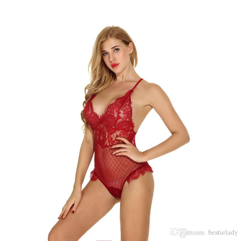 Christmas Holiday Eyelash Lacy Red Romper Women Romatic High End Sheer Sexy Scalloped Intimate Apparel Lingerie Sheer Lacy Sleepwear