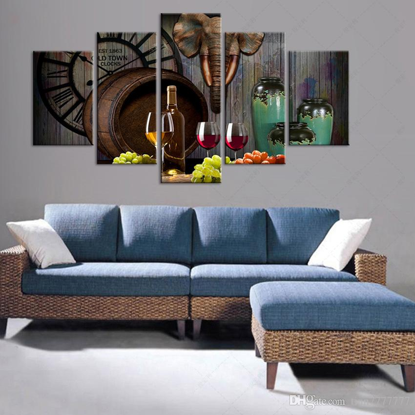 5 Panel Red Wine Glass Barrel Paintings Modern home decor canvas wall art painting For Dinning room Printed poster picture Unframed