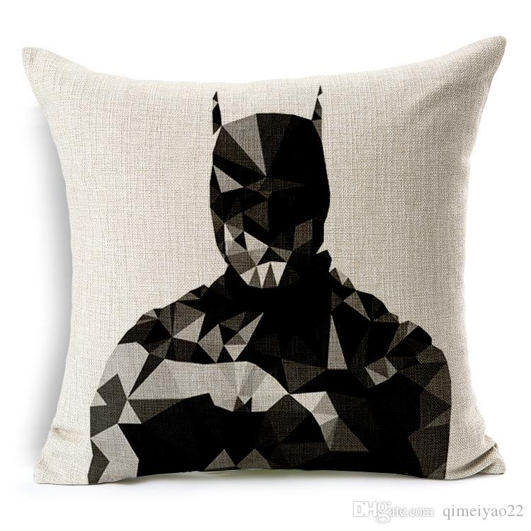 The Avengers Cushion Cover American TV Series Superman Iron Man Pillow Cover Cotton Linen Geometric Cushion Pillow Cases for Bedroom Sofa