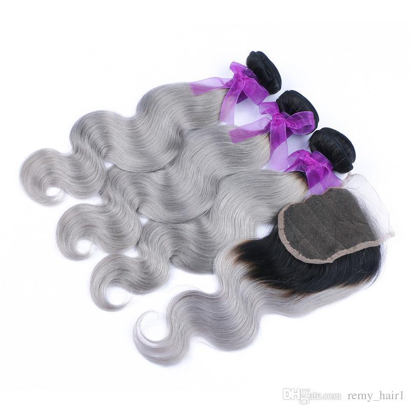 뭉치 바디브 웨이브와 함께 # 1B / 회색 2 톤 컬러 인간의 머리카락과 함께 괌 Ombre 4x4 레이스 클로저 실버 그레이 옹기 짜다