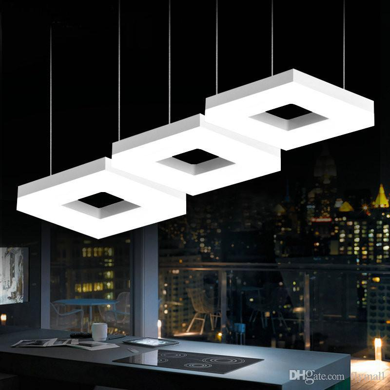 Led Square Arcrylic Pendant Lamps Office Study Room Commercial Lighting  Dining Room Kitchen Bar Modern Led Lamp Indoor Lighting Pendant Lights For  Kitchens ...