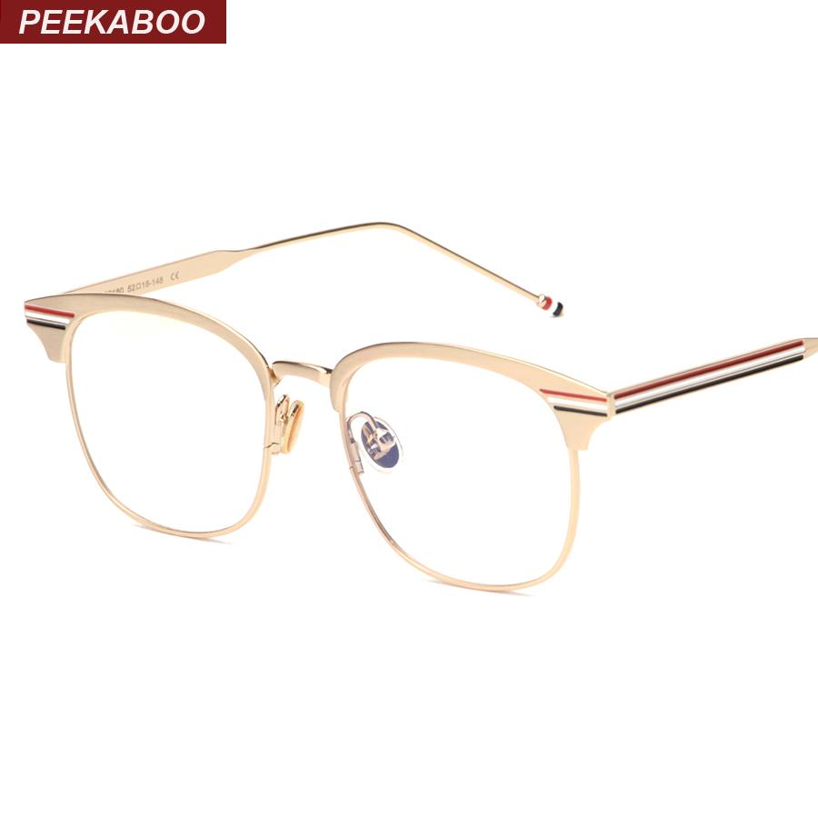2018 Wholesale Peekaboo Fashion Metal Gold Frame Glasses For Men ...