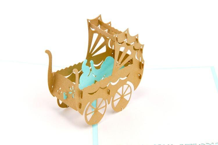 اليدوية ورقة فن نحت 3D المنبثقة بطاقات المعايدة PinkBlue عربة طفل عربة بطاقة عيد استحمام الطفل