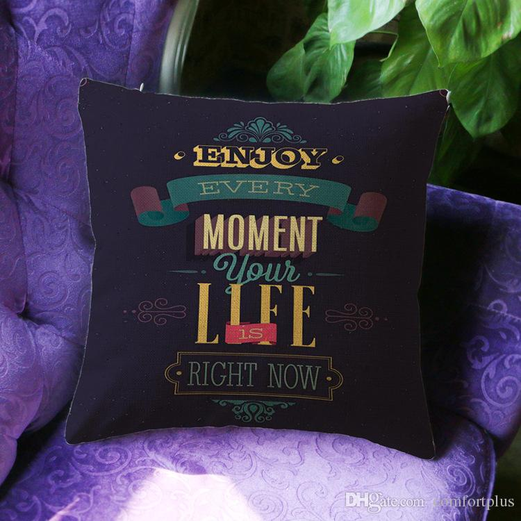 Newly Letters & Words Pattern Cushion Cover Linen Throw Pillow Cover Decorative Pillow Case Sofa Bed Car Office Use