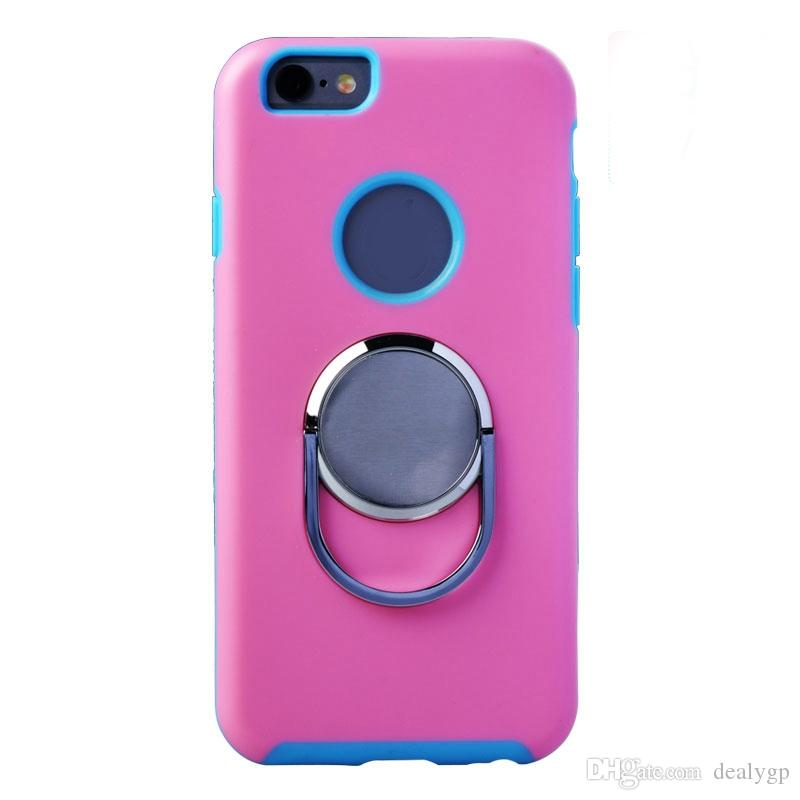 For iPhone 5S Shockproof 360 Rotating Finger Ring Holder Stand Mobile Phone Case Flexible TPU Back Cover