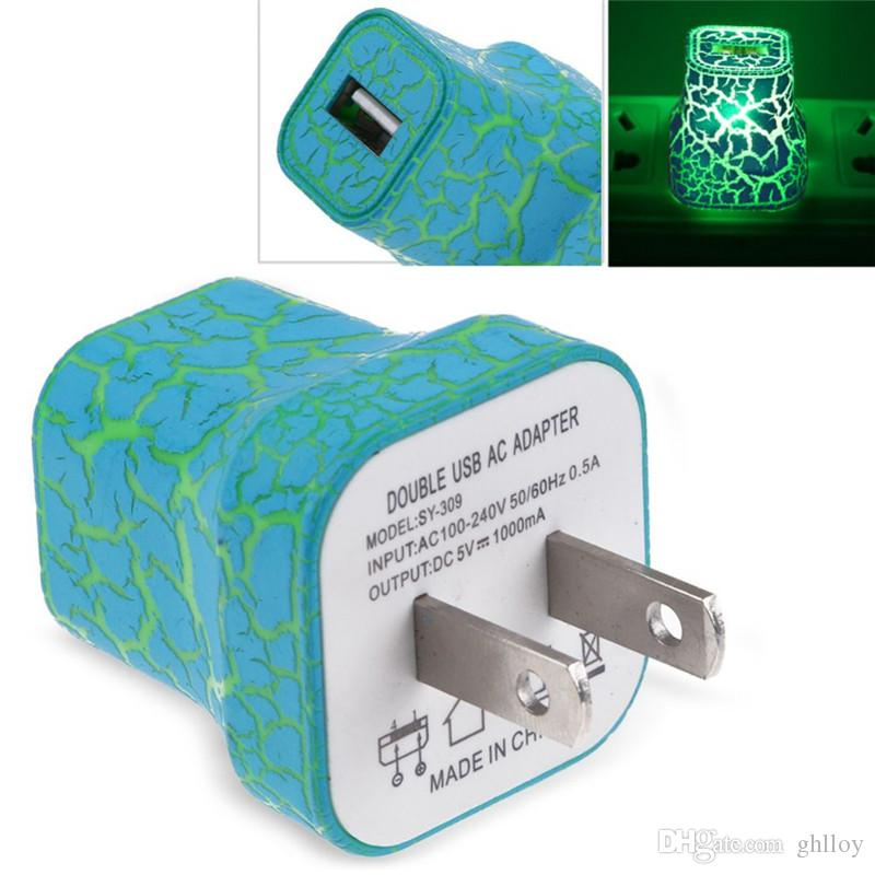5V LED Lumière USB Chargeur Murale Style Crack Glow Lighting Voyage Chargeur