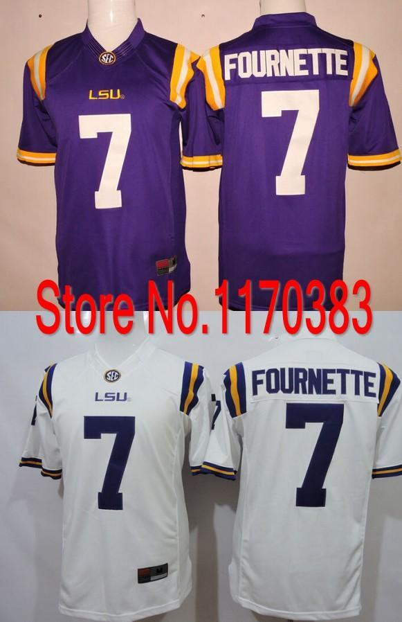 cf37fd4f5 2019 Factory Outlet 2015 2016 New Style Men LSU Tigers NCAA College Football  Jersey  7 Leonard Fournette Jersey Cotton White Blue Color From Hyjerseys