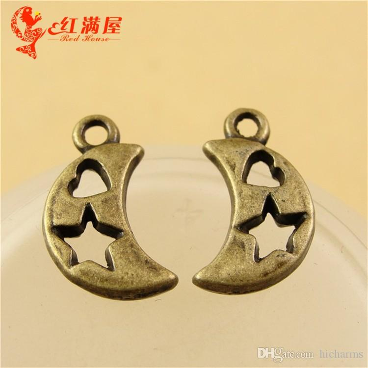 17*10MM Antique Bronze moon star charms for bracelet, vintage metal silver plated pendants for necklace, diy tibetan jewelry making findings