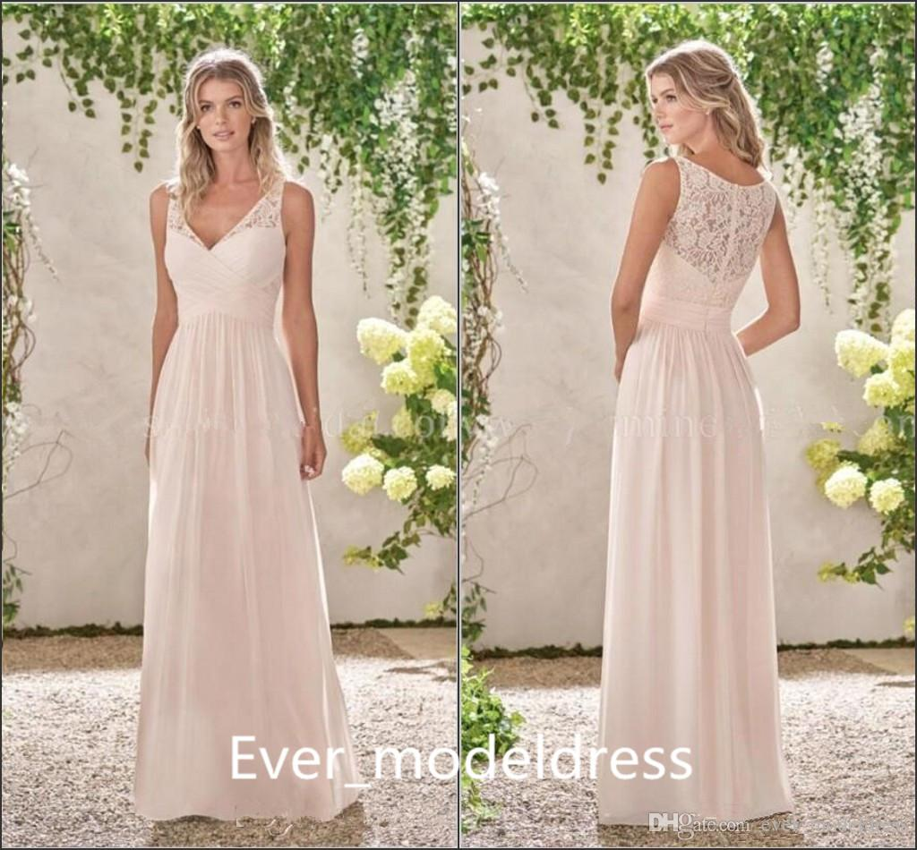 Simple cheap bridesmaid dresses 2017 blush a line v neck illusion simple cheap bridesmaid dresses 2017 blush a line v neck illusion lace back floor length long wedding giuest gown celebrity dresses custom junior bridesmaid ombrellifo Image collections