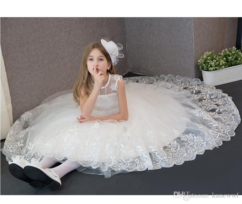 2017 prinzessin brautkleid weiße spitze blume mädchen kleid vestidos längst spielende kinder abend ballkleid party pageant kleider erste kommunion
