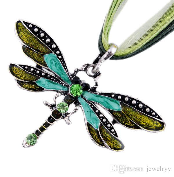 Retro Dragonfly Crystal Pendant Necklace Lace Ribbon Strap Long Chain Necklaces Alloy Women Girls Vintage Statement Jewelry