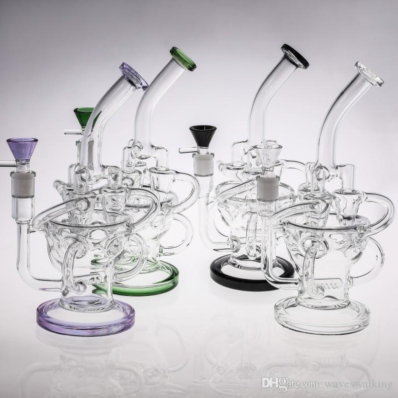 26cm Purple Green Glass Bongs Triple Funnel Chambers Inline Perc Smart Recycler Oil Rigs Glass Bong 14.4mm 100% Real Smoking Pipes