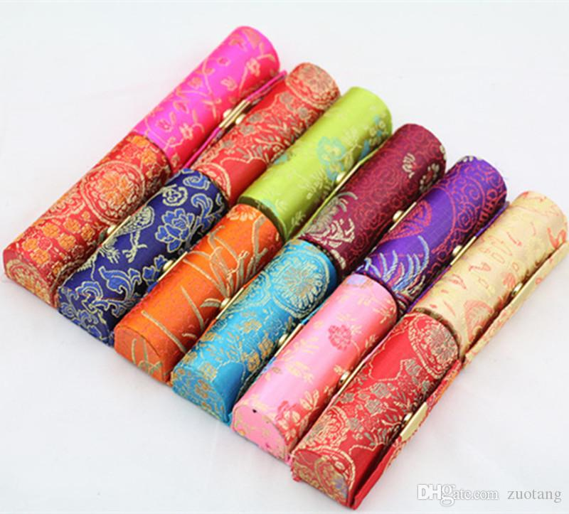 Vintage Cheap Empty Lipstick Case Mirror Chinese Silk Brocade Lip Balm Tubes Packaging Box Lip gloss Makeup Containers