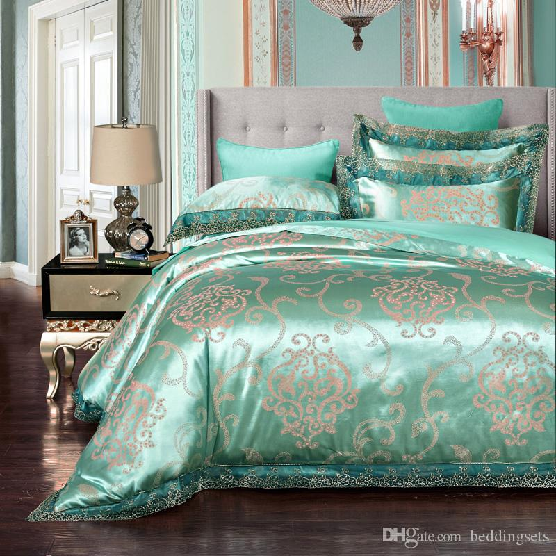 Peacock Blue Lace Duvet Cover With Zipper Modal Tribute Silk Jacquard Home  Textiles European Style Bed Sheet Bed Sets Promotion 5806 Bedding Comforter  Set ...