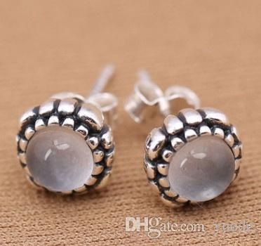 New European 925 Silver Fit Pandora Birthday earrings Female Crystal from Swarovski Simple Temperament Wild Anti-allergic