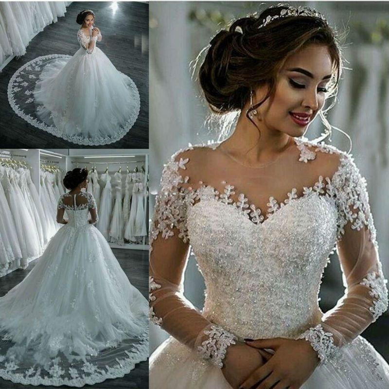 Afrique du Sud pure tulle robe de mariée de luxe 2017 manches longues bouton Applique robe de bal robes de mariée Vintage robes de mariée