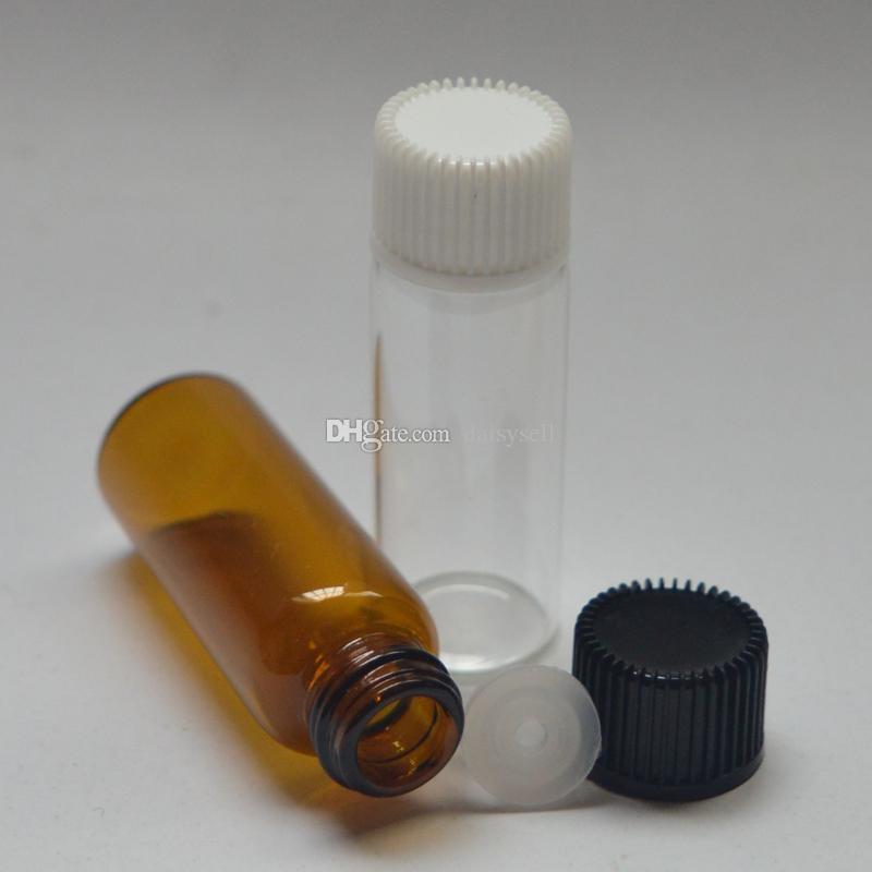 5ml Fiale di profumo ambrato con riduttore di orifizio Bottiglia di olio essenziale Mini fiale di vetro trasparente Tubi di campione di profumo 5ml Piccola bottiglia