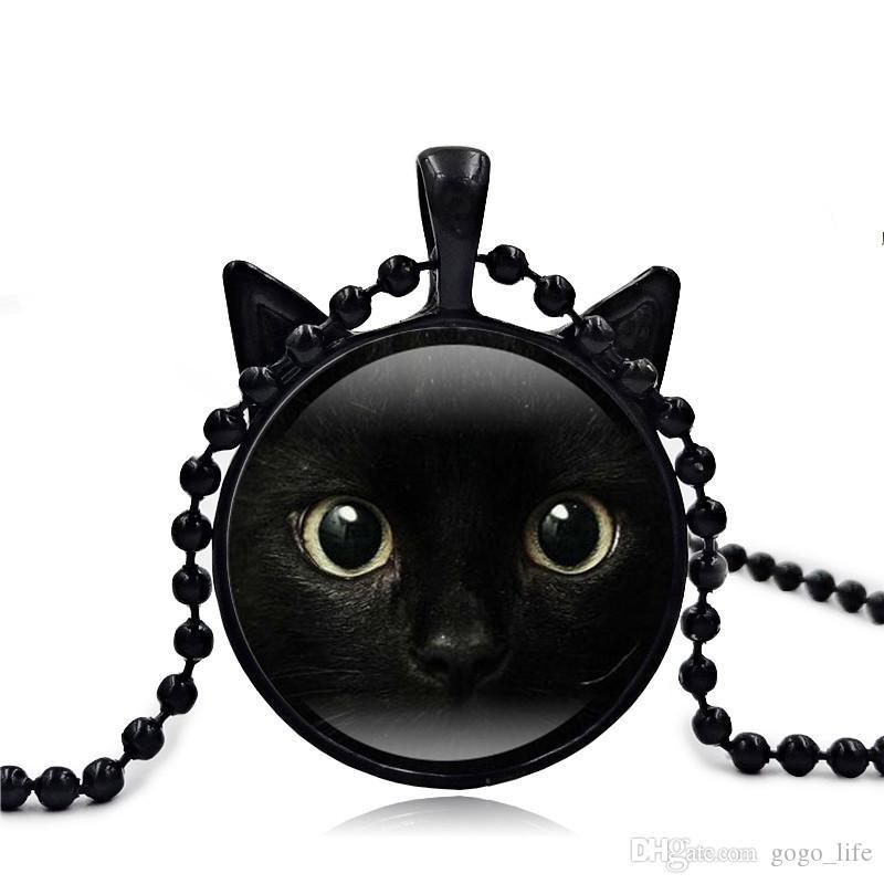 Blue Cats Eye Halskette - Glowing Eye Anhänger - Silber leuchtenden Bild leuchtenden Schmuck Geschenke für Frauen Glow in the DARK