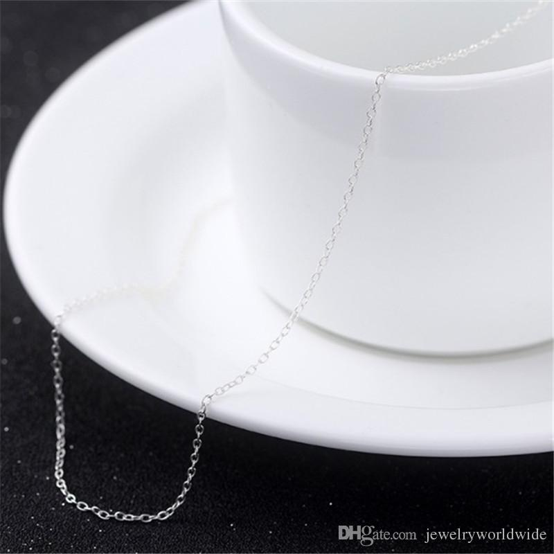 Pearl Necklace Rope Chain Genuine 925 Sterling Silver 100% Honest Material Fashion Women Jewelry Quality 16 inch+3.3cm 1.2g