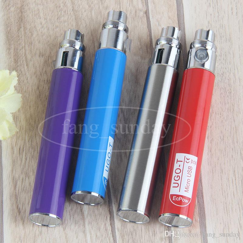 UGO T Ego Passthrough E Cig Battery Mod 650mAh Evod Vaper Pens with Micro USB Cables Charger PK kangertech Vaporizer 510 CE3 Cartridges