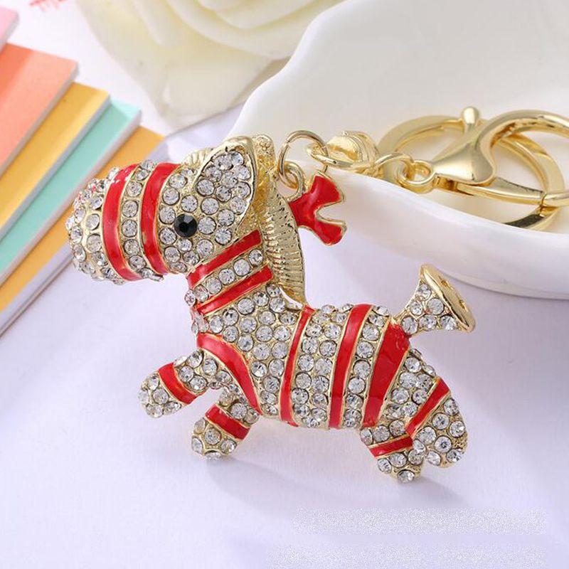 Zebra Horse Keychain Fashion Rhinestone Crystal Purse Bag Pendant ... e4253afe6a