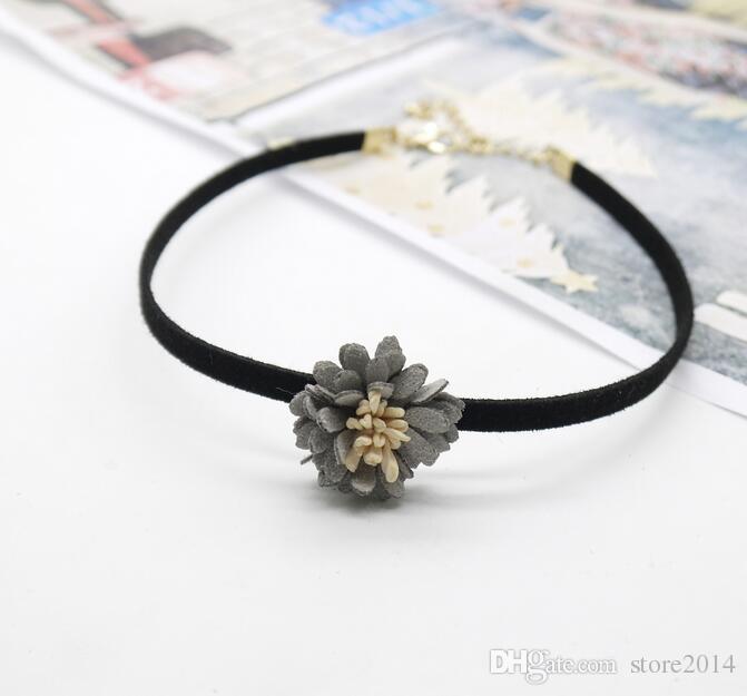 Velvet Retro Gothic Choker Halskette Mode schwarz Kragen Bib Band handgemachte Blumen mit Charme Schichten für Frauen Geschenk