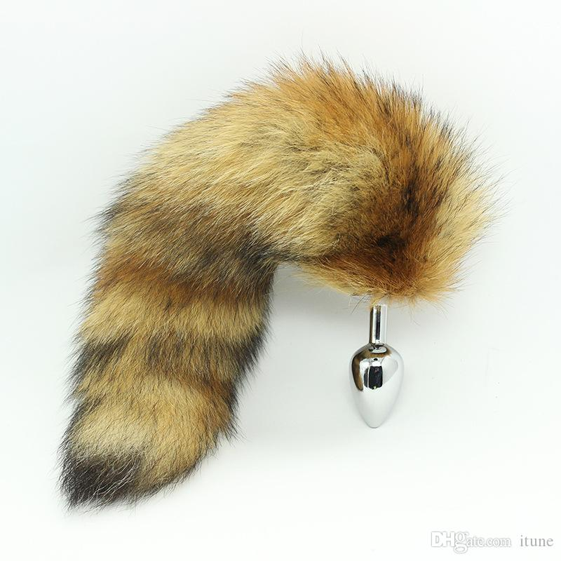 Medium size 3.5*1.3 inches Stainless Steel Attractive Butt Plug Jewelry Jeweled Anal Plugs Rosebud toy Fox Tail / dog tail sex Toys